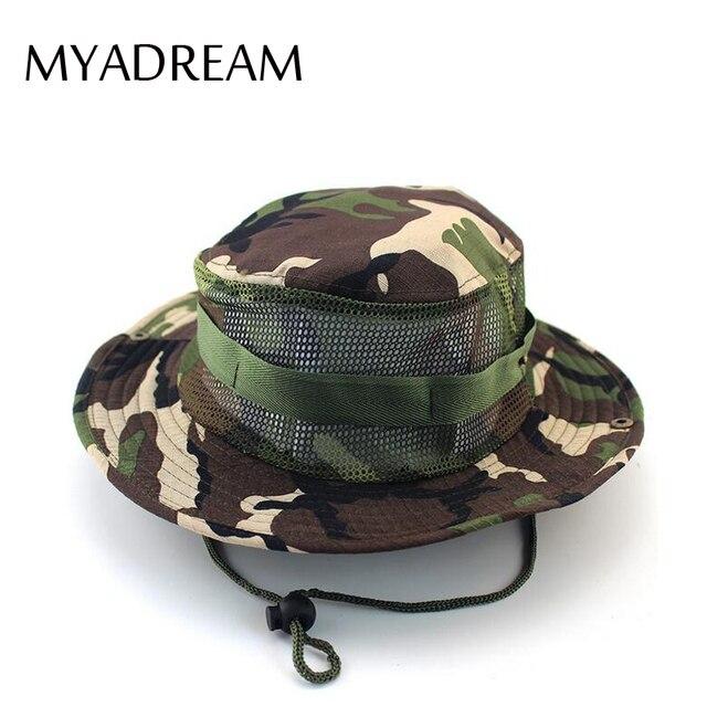 MYADREAM Adjustable Camouflage Bucket Hat Breathable Mesh Mens Panama  Portable Hunting Fishing Boonie Hat Cap Chapeu Feminino da24621ca2c