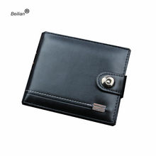 Black Leather Men Wallet Short Male Purse With Coin Pocket Card Holder Trifold Wallet Men Clutch Money Bag Hasp Wallet Wholesale(China)