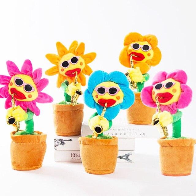 Coringa Flor Saxofone Dançando e Cantando Girassol Stuffed Plush Brinquedos Engraçado Brinquedos Elétricos para As Crianças Presentes