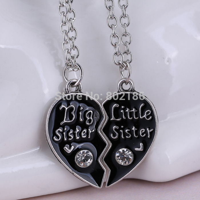 2P Sisters Pendant Necklace Broken Heart Puzzle Jewelry Unique Personalized  Gifts Charms Couple Necklaces for Sister 3baa633e306d