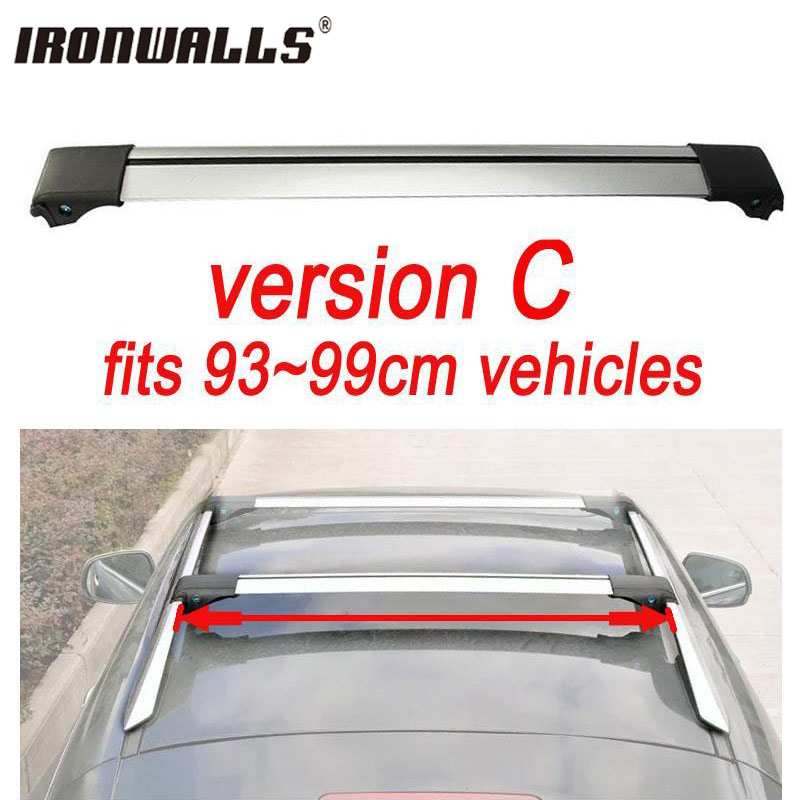 Ironwalls 1x Car Roof Rack Cross Bar For 93cm 99cm Top Luggage Cargo With Lock System