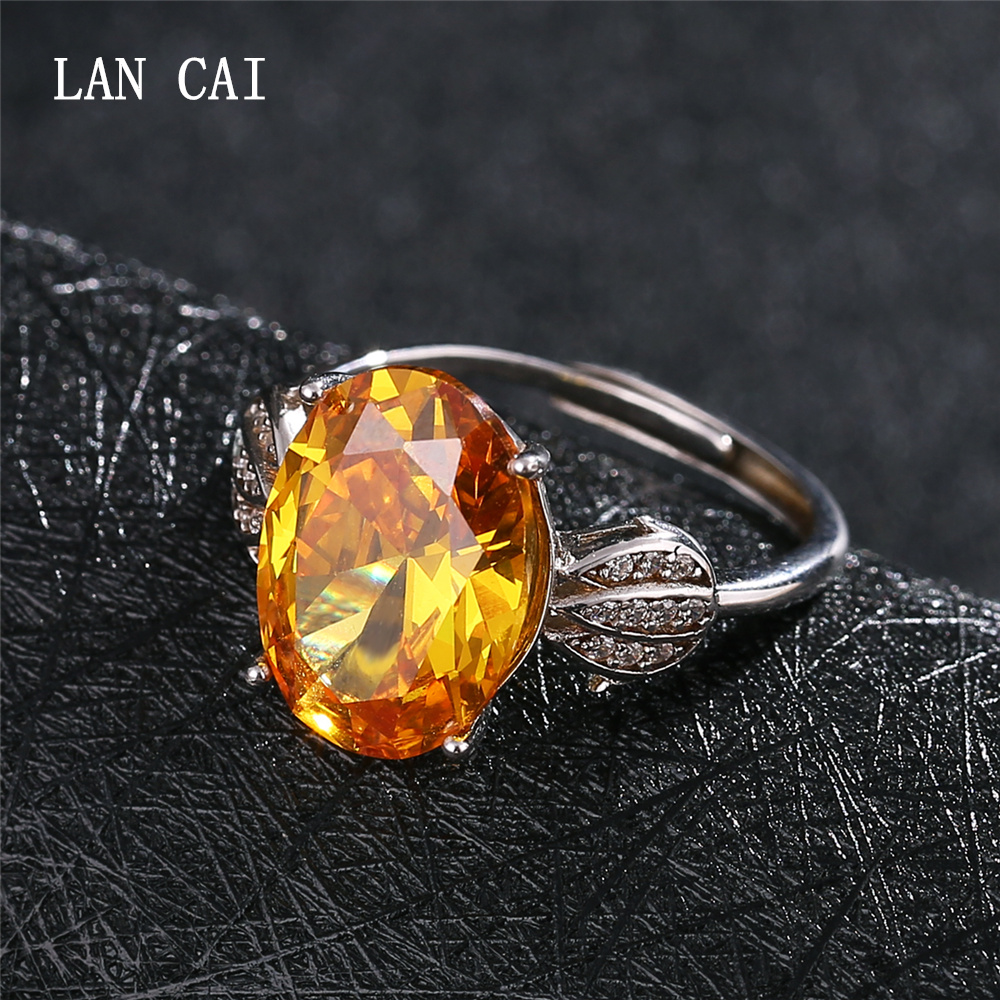 LANCAI Luxury Big Size Natural Gemstones 10ct Citrine Ring 925 Sterling Silver Inlaid White Zircon Ring for Women Fine Jewelry equte rssw30c1s7 fashionable titanium steel two zircon women s ring silver white us size 7