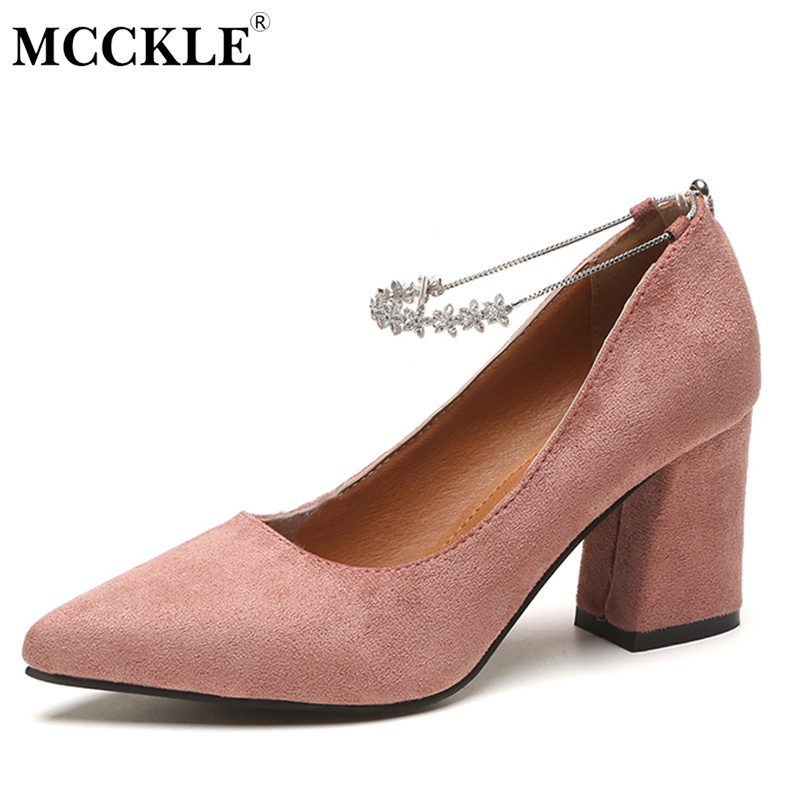 MCCKLE Women's Fashion High Heels Flower Pointed Toe Suede Slip On Thick Heel Ankle Chain Pumps Female Autumn Style Ladies Shoes fashion spring platform thick heel ladies shoes ultra high heels ankle strap women pumps glitter slip on dress wedding pumps