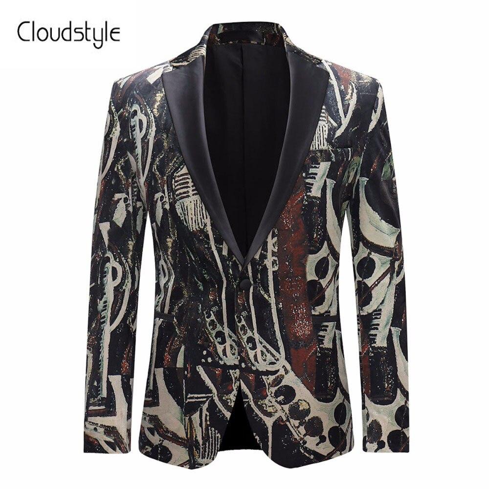 Cloudstyle 2018 уникальный печати пиджак Для мужчин новый фьюжн мужской пиджак с длинным рукавом одной кнопки Куртки Для мужчин Повседневное паль...