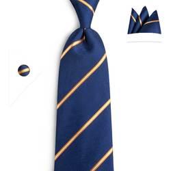 DiBanGu 100% шелк синий желтый полосатые галстуки Для мужчин новый Модный мужской галстук для мужские деловые вечерние Cravatte Gravatas N-7093