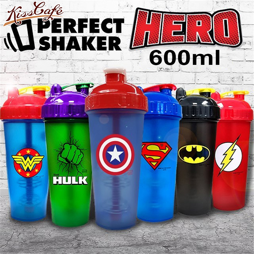 600ML Super Heroes Shaker Bottle With Whisk Ball Sports Gym Whey Protein Powder Mixing Bottle Fitness Water Bottle BPA Free image