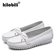kilobili 2019 Spring Women Genuine Leather Ballet Flats Casual Shoes Round Toe Flats Slip On Loafers Casual Flats Boat Shoes