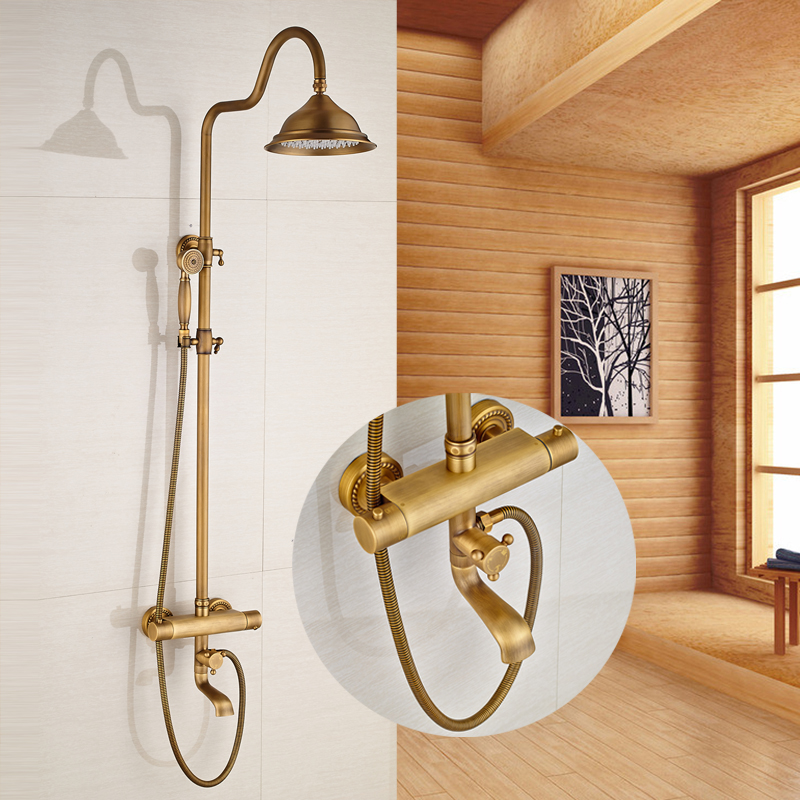 Classic Thermostatic Antique Brass 8 shower Head Bathroom Shower Faucet With Hand Shower