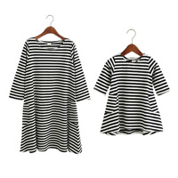 Family Dress Mother Daughter Summer Long Sleeve Striped Family Look Cotton Matching Clothes Mom Daughter Dress