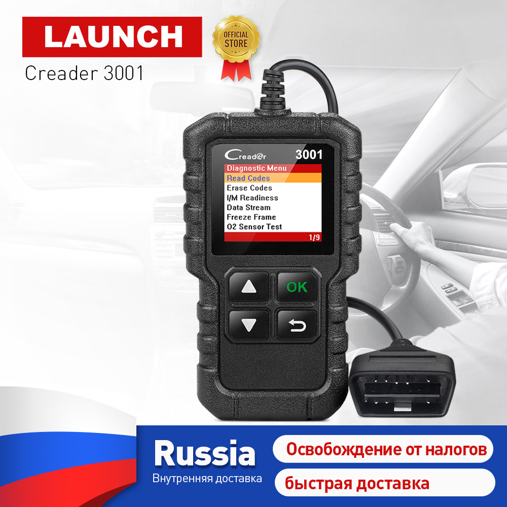LAUNCH X431 Creader 3001 OBDII OBD2 Code Reader Support Full OBD 2 EOBD function CR3001 Auto Scanner PK AD310 NL100 ELM327 launch full obd2 code reader scanner creader 3001 obdii eobd car diagnostic tool in russian cr3001 pk al319 al519 om123