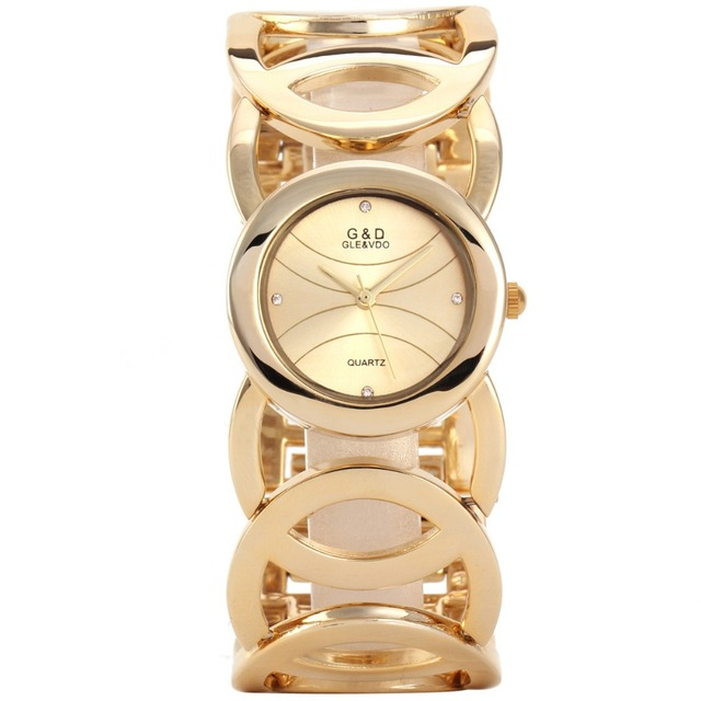 G&D Top Brand Women's Watches 2017 Gold Luxury Bracelet Watch Ladies Dress Quart