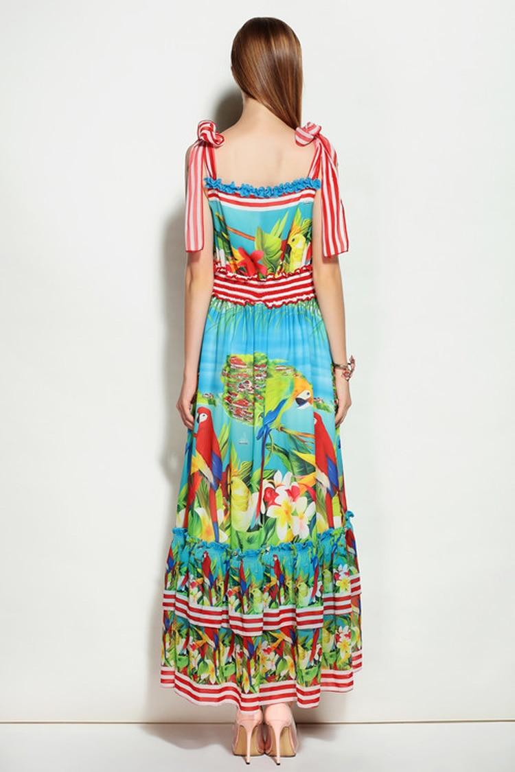 2018 été plage décontracté plus récent Spaghetti Strrap Slash cou perroquet imprimé coloré Silm mi-mollet Expansion longue robe femmes - 2