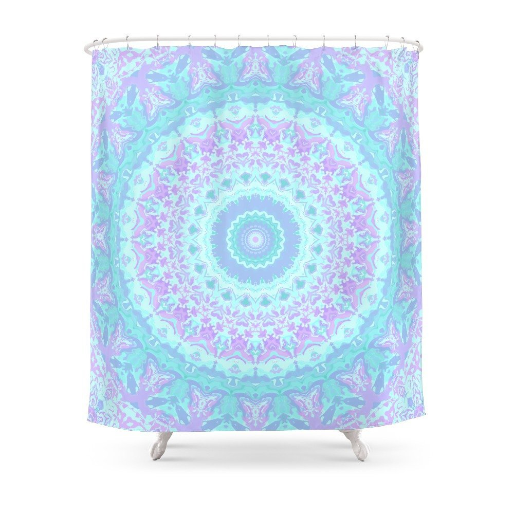 Cyan Turquoise And Purple Kaleidoscope Shower Curtain Set Waterproof Polyester Fabric For Bathroom With Floor Mat