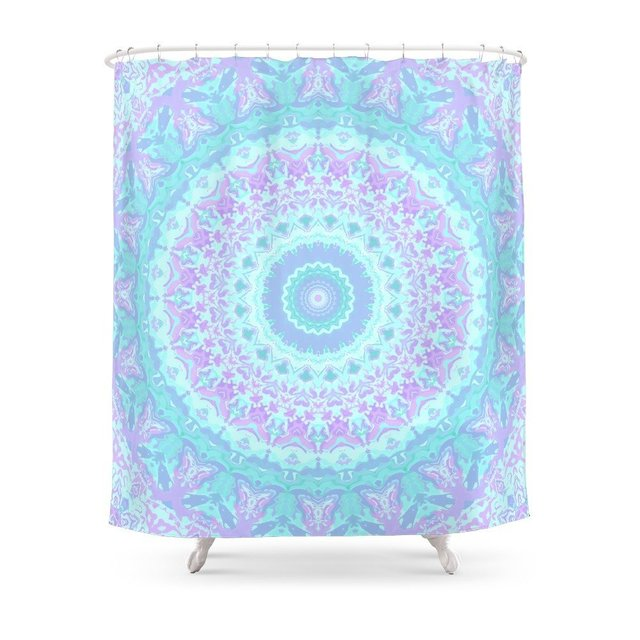Cyan, Turquoise, And Purple Kaleidoscope Shower Curtain