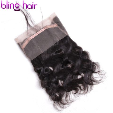 Bling Hair Brazilian Body Wave Closure 360 Lace Frontal With Baby Hair Free Part 100% Remy Human Hair Closure Natural Color Lahore