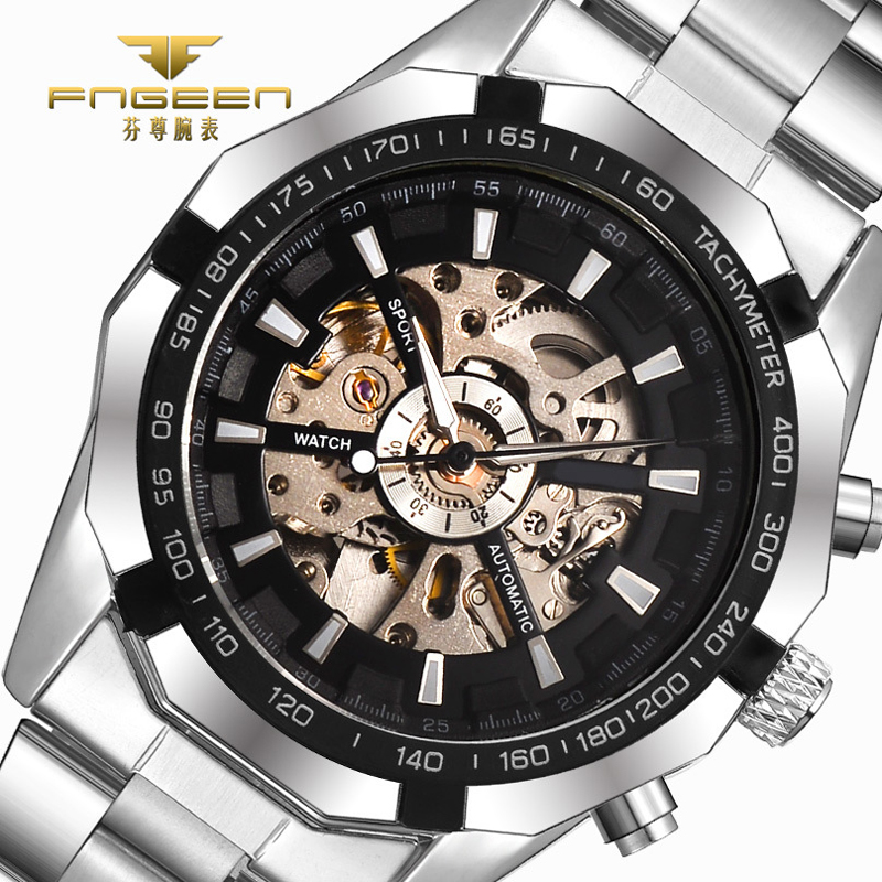 Mens Watch Fully Automatic Mechanical Watches for Men Tourbillon Skeleton Big Dial Men Watches Business Casual Erkek Saat Reloj