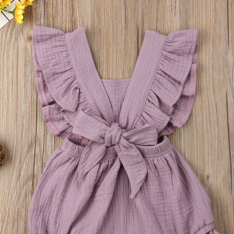 6 Color Cute Baby Girl Ruffle Solid Color Romper  Jumpsuit Outfits Sunsuit for Newborn Infant Children Clothes Kid Clothing