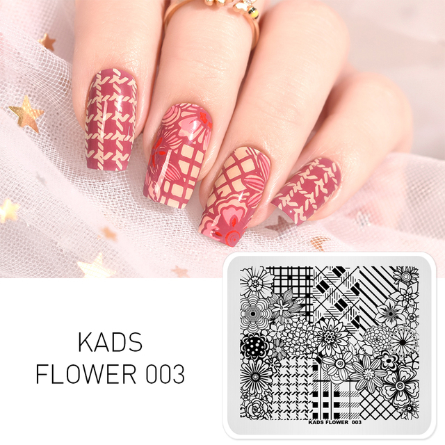 KADS nueva llegada flor 003 varias flores rayas uñas sello placa DIY decoración para uñas accesorios PLACA DE MANICURA