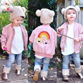 KAMIMI chaqueta de las muchachas del bordado del arco iris niños Escudo Abrigos niños Rompevientos Bebé Chaquetas Niños moda Ropa A386