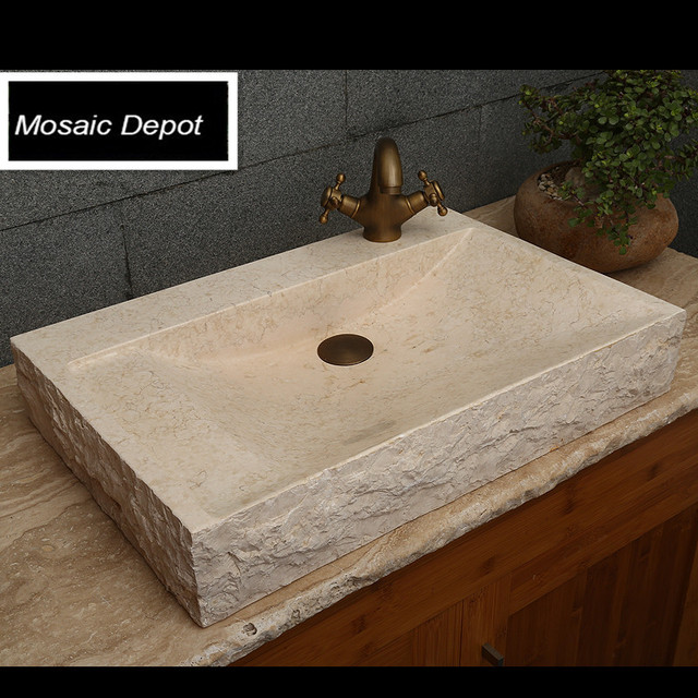 Cream Beige Marble Stone Sinks Lavatory Sinks Bathroom Stone Basin  Countertop Sinks Home Decor Natural Stone