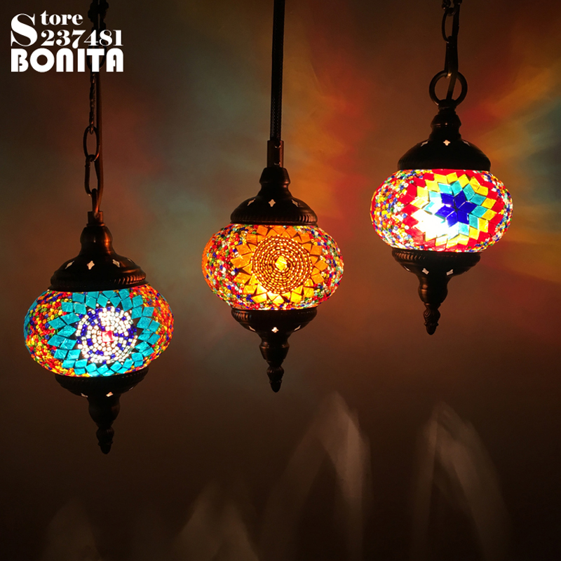 Small Size hanging lamps for dining room Southeast Asian restaurant droplight Retro Handmade glass mosaic Colorful Pendant Light