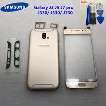 Per Samsung Galaxy J3 J5 Pro J7 2017 J330F J530F di Alluminio della copertura posteriore Della Batteria Della Cassa Dellalloggiamento Della Copertura Posteriore J730F + anteriore In Vetro + strumento