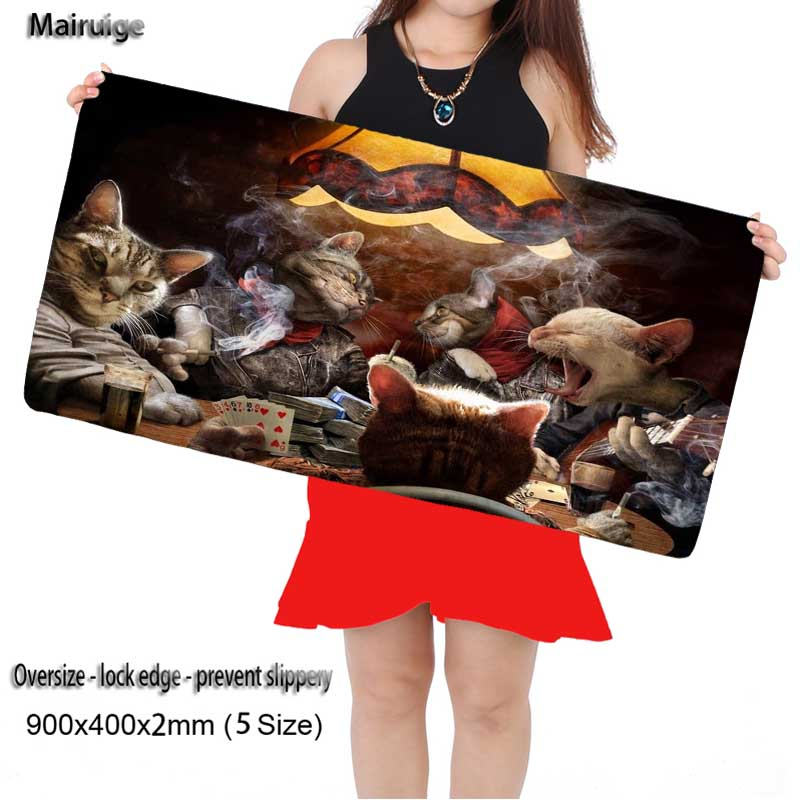 Mairuige Cats Having A Party Large Game 900*400 High Quality with Edge Locking Speed Version Game Keyboard Mouse Pad for Gamer