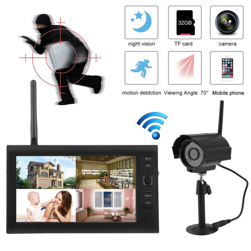Professional Wireless 7 Inch TFT LCD Monitor CCTV Kit Digital 2.4GHz DVR Wireless Camera Audio Night Vision Home Security System