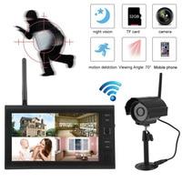 Professional Wireless 7 Inch TFT LCD Monitor CCTV Kit Digital 2 4GHz DVR Wireless Camera Audio