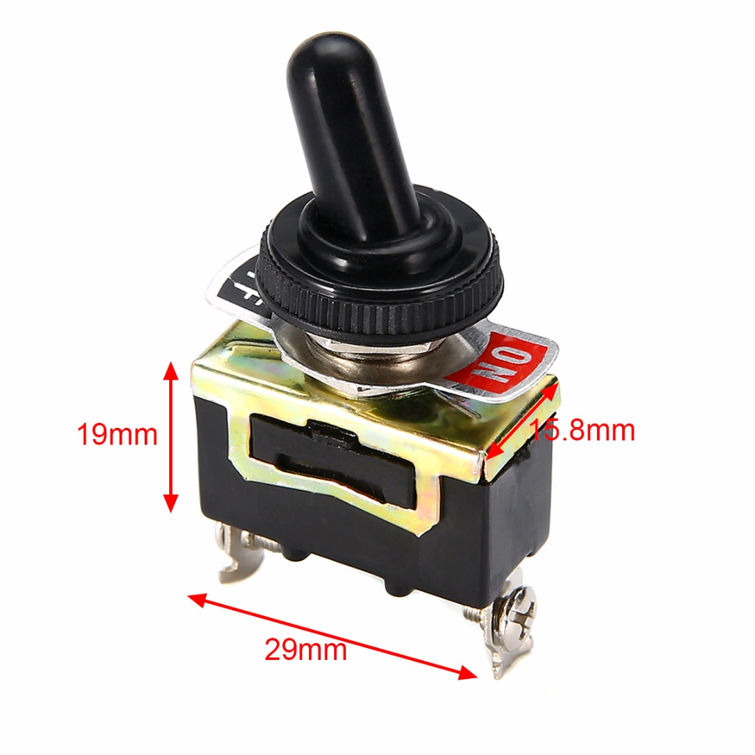 Miniature On Off Small SPST Toggle Switch Heavy Duty with Waterproof Cover 12V 6 A/250 VAC 10 A/125VAC 5 x on off small toggle switch miniature spst 6mm ac250v 3a 120v 5a