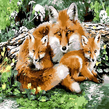 Fox Family Picture Painting By Numbers Modern Animal Wall Art DIY Hand Painted Canvas Coloring Home Decor 2017 Hot Gift