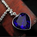 Hot Sales Classic Titanic Big Crystal Heart Necklaces Pendants Wedding Royal Blue Jewelry 5pcs/lot Free Shipping