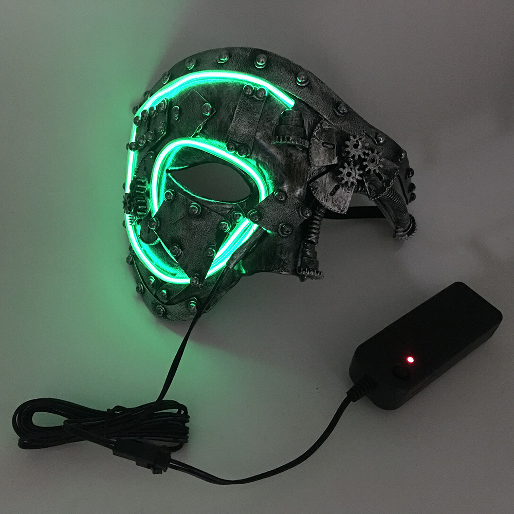 036c4ca98307 Led Steampunk Cosplay Mask Light Up Mask Party Mascara Skull Half face  Christmas Carnival New Year Gift Costume Props-in Boys Costume Accessories  from ...