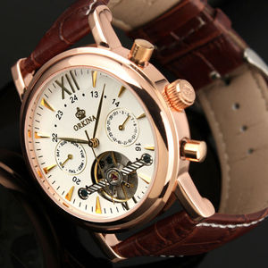 Image 4 - ORKINA Classic Day Date Calendar Automatic  Tourbillon Brown Leather Strap Analog Mens Mechanical Watch Rose Gold Montre Homme