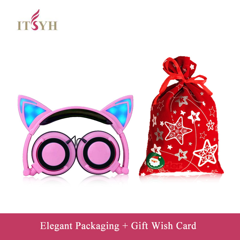 Купить Fashion Earphones & Headphones girl students LED light headband earpones with microphone foldable Cute Cat Ear headset TW-763 в Москве и СПБ с доставкой недорого