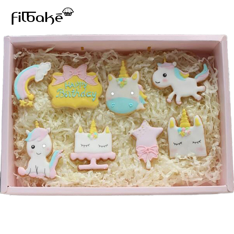 FILBAKE 8Pcs Unicorn Silicone Rubber Cute Cutting Biscuit Mould Cake Moulds fruit Sugar Mold Baking Tools Creative Dessert Tools