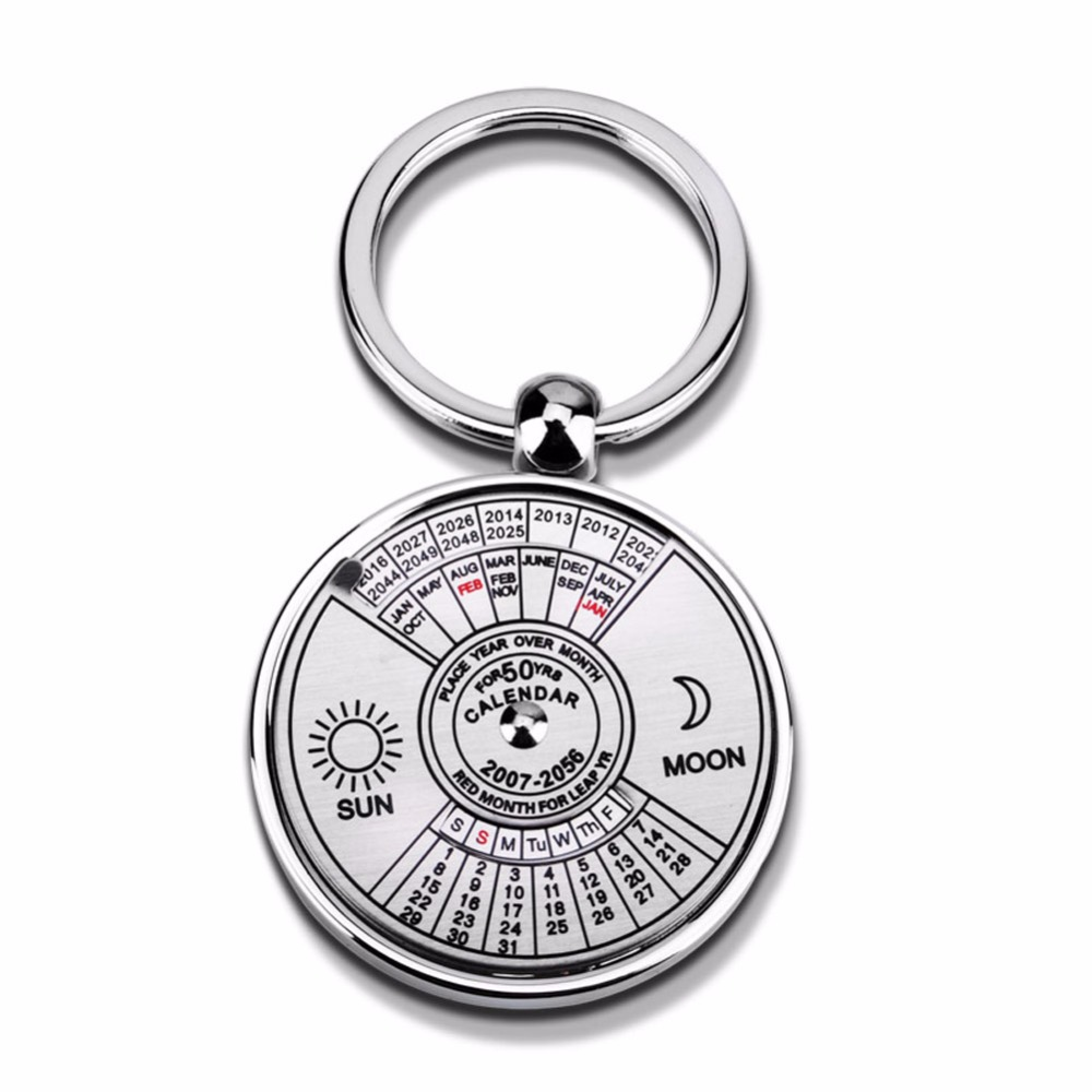 1 Pc Of Portable Metal Mini 50-Year English Calendar Key Ring For School And Office Supply