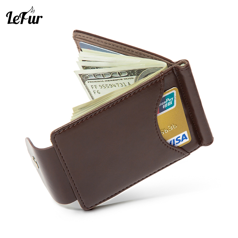 LEFUR Slim Wallets Clutch-Bags Card-Holder Money-Bag Fashion Purse Small Vintage Male