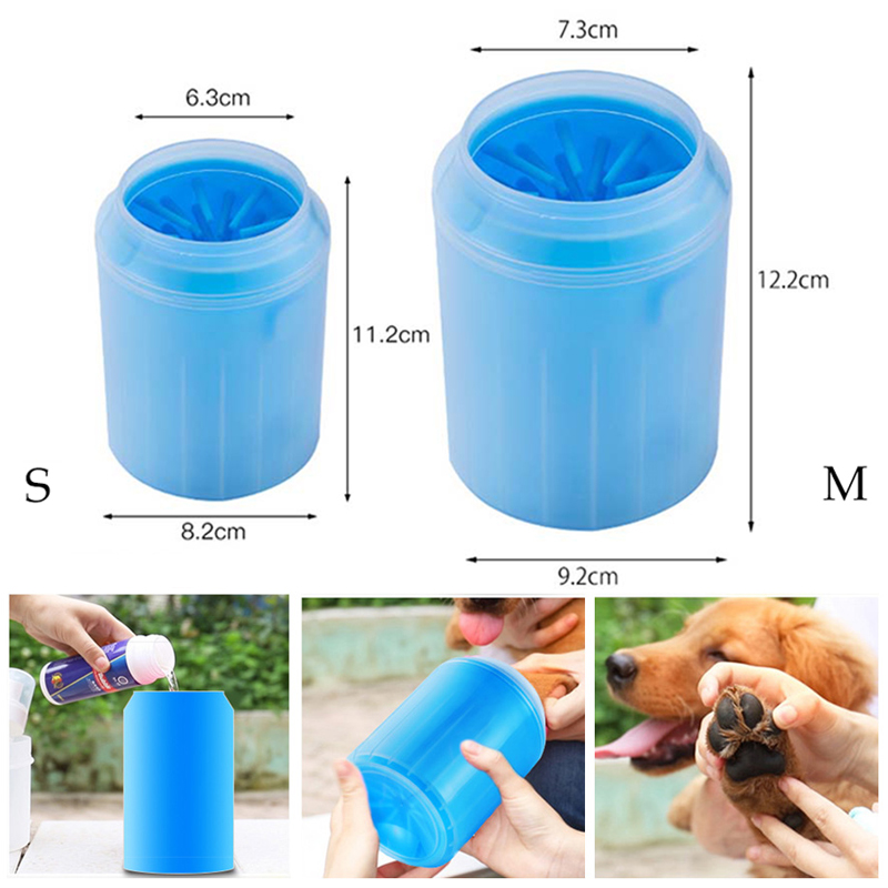 Dog Litter & Housebreaking Dog Paw Cleaner Cup Soft Silicone Combs Portable Pet Foot Washing Cup Paw Clean Brush Quickly Wash Cat Paw Cleaning Bucket Traveling