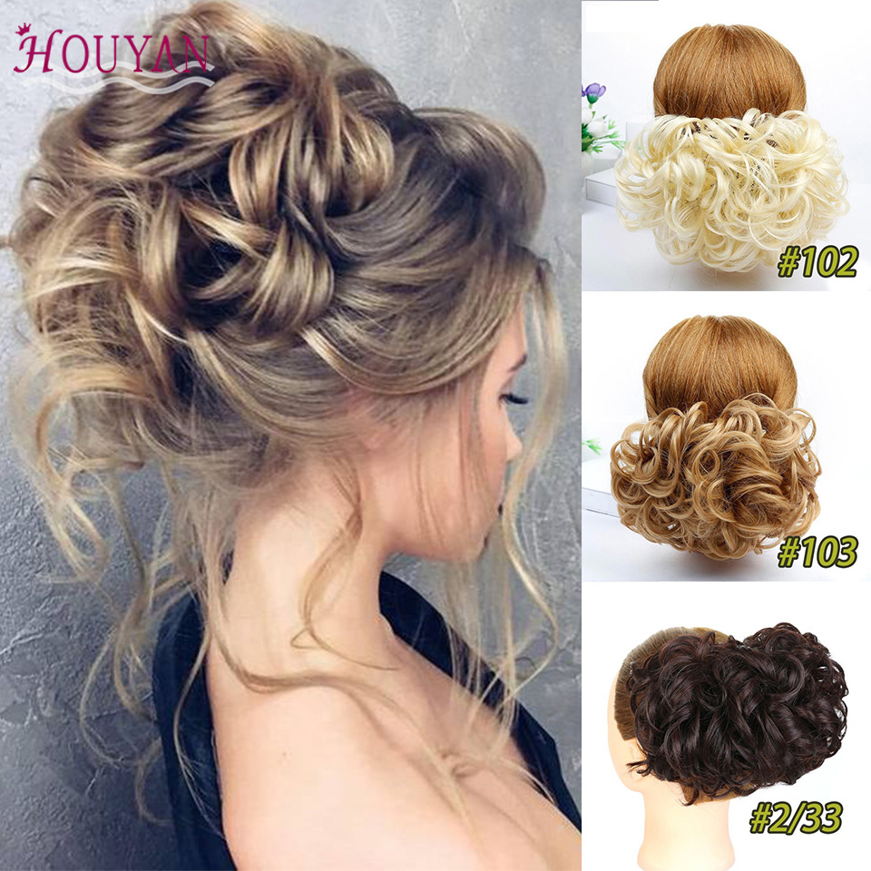 HOUYAN 1pcs Synthetic Hair Big Bun Chignon Two Plastic Comb Clips Cover Hairpiece Extension Hair Bun Hair Accessories