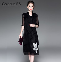 High Quality New Golesun Brand Elegant Printed Flower Chiffon Half Sleeve Long Dresses Women Vintage Casual