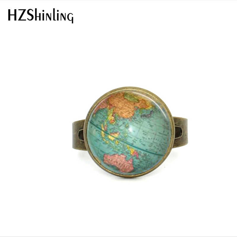 Vintage Globe Ring Planet Earth World Map Art Gl Dome
