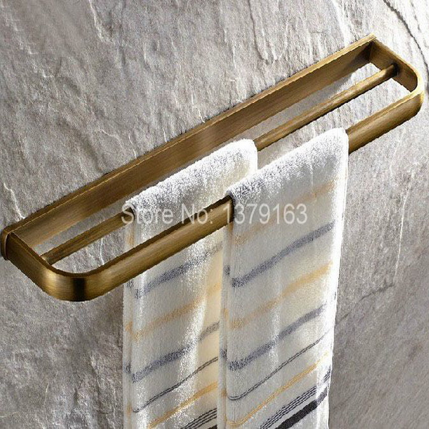 Bathroom Accessory Fitting Retro Antique Brass Wall Mounted Bathroom Double Towel Bar Towel Rack