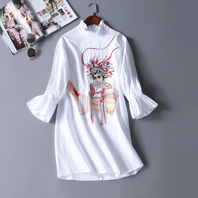 new women vintage chinese style embroidery beijing opera charactar