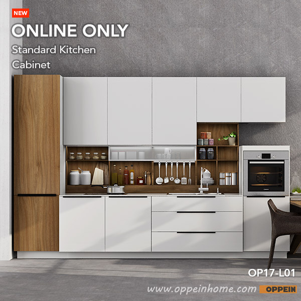 Oppein 360cm Width Pre Assembled Kitchen Cabinet Lacquer Finish Kitchen  Cabinets(OP17 L01