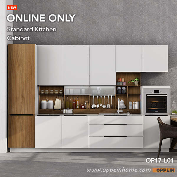 Oppein 360cm Width Pre Assembled Kitchen Cabinet Lacquer Finish Kitchen Cabinets Op17 L01