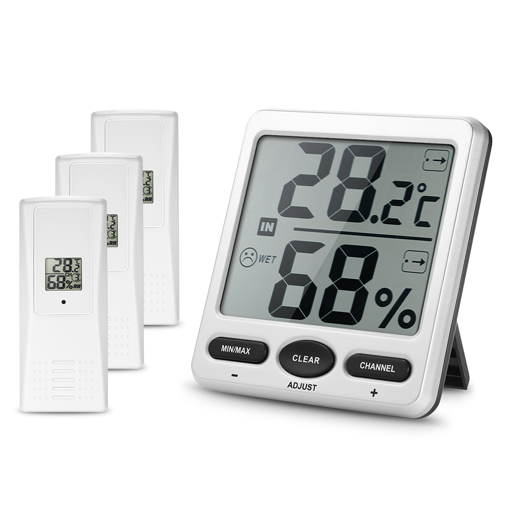LCD Digital Thermometer Wireless Temperature Humidity Meter Indoor Outdoor 8-Channel Thermometer Hygrometer With 3 Remote SensorLCD Digital Thermometer Wireless Temperature Humidity Meter Indoor Outdoor 8-Channel Thermometer Hygrometer With 3 Remote Sensor