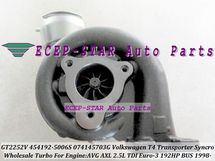 GT2252V 454192 454192-5005S 454192-5001S 074145703E Turbo For Volkswagen VW T4 Bus Transporter Syncro 1995-03 AVG AXL 2.5L TDI