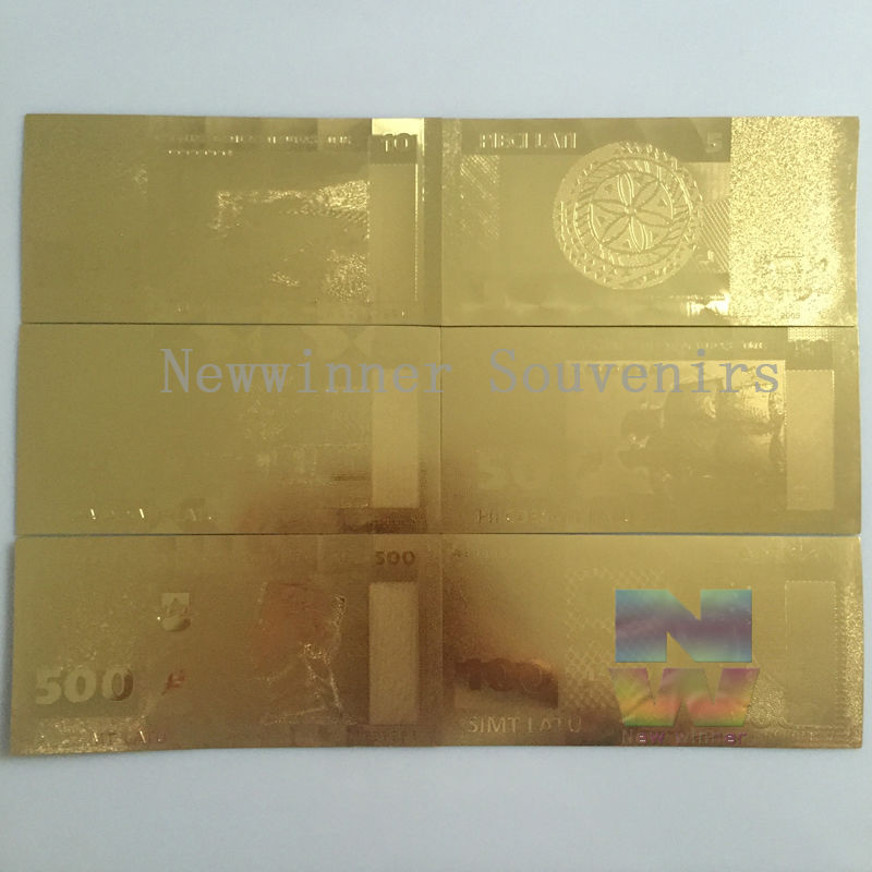 6pcs/set latvia 24K golden banknotes set latvian 500/100/50/20/10/5 Lats Currency Paper Money Art Creative Gift