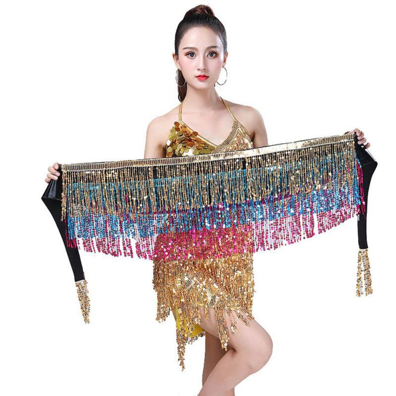 Women's Belly Dance Hip Scarf Performance Outfits Skirt Festival Clothing Tassels Fringes Hip Scarf